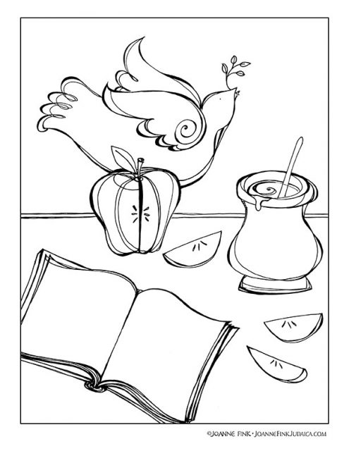 Apple & Honey Coloring Page